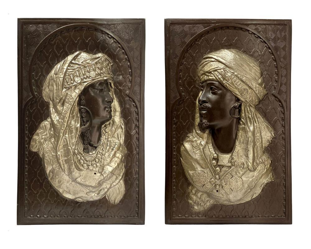 Pair Orientalist Metal Plaques After Arthur Waagen