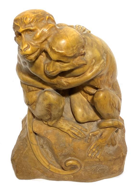 Angiolo Vannetti (1881-1962) Marble Sculpture of Monkeys