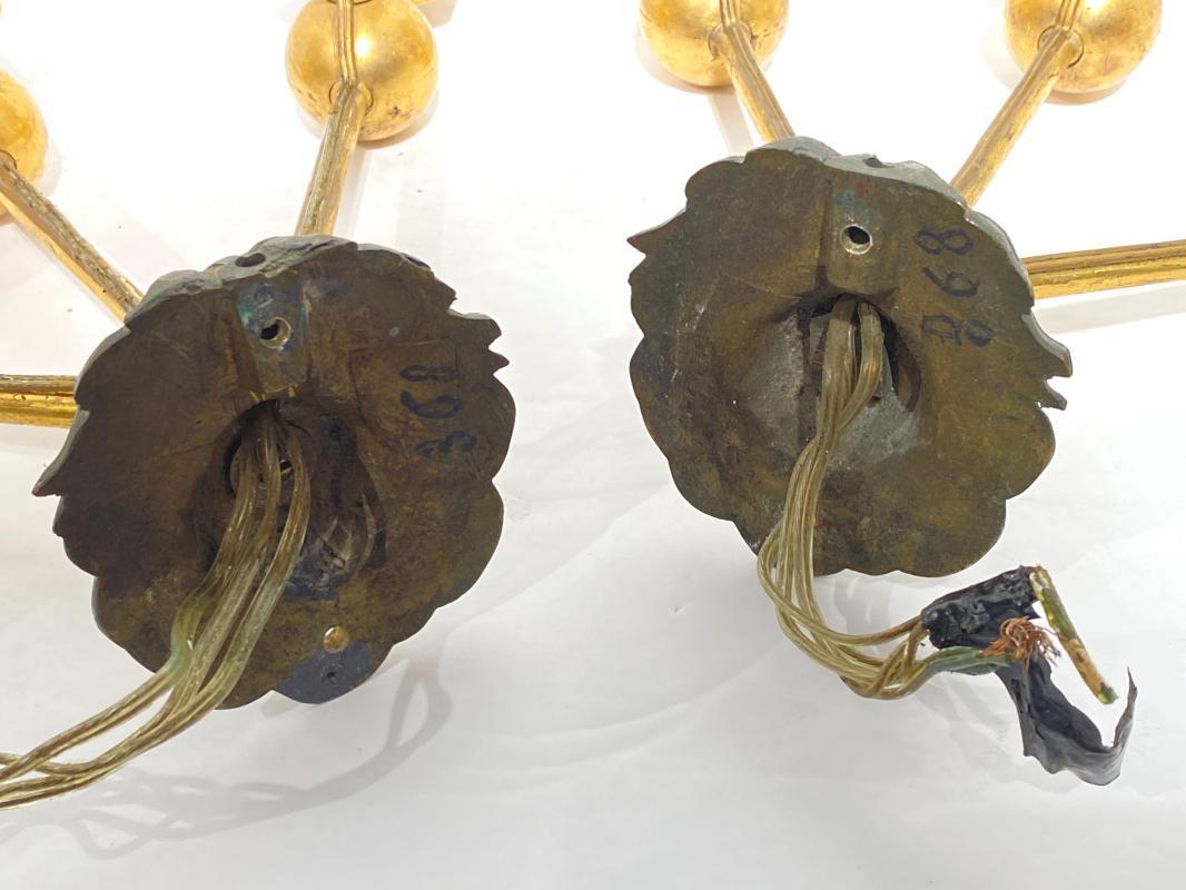 Pair French Empire Period Gilt Bronze Arrow Form Sconces
