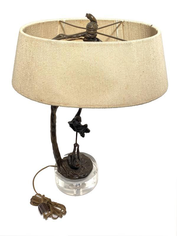 Mid-Century Modern Lucite and Bronze Lamp Depicting Monkeys