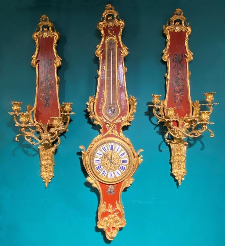 Louis XV Style Vernis Martin Japanned Barometer Clock and Sconces Garniture