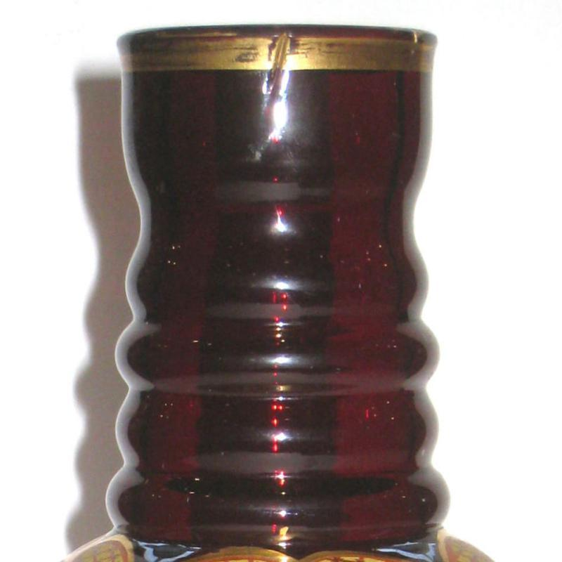 Antique Parcel Gilt Ruby Red Glass Vase with Painted Parrots