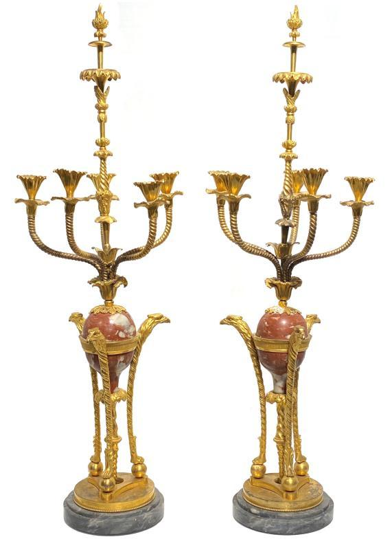 Pair Antique Russian Ormolu Bronze and Marble Candelabra