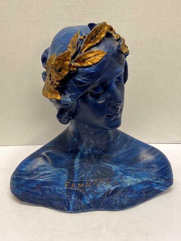 Fama Volat Faux Marble Bust After Emilio Fiaschi (1858-1941).