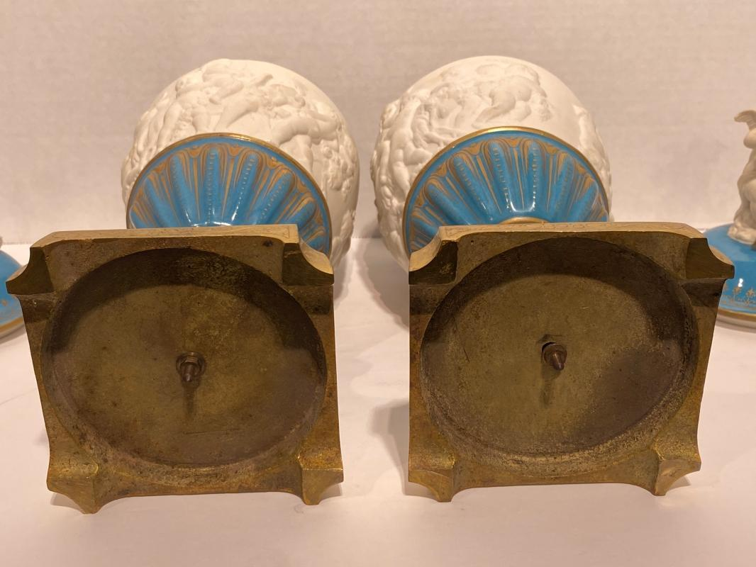 Pair Robins Egg and Bisque Porcelain Bronze Mounted Vases