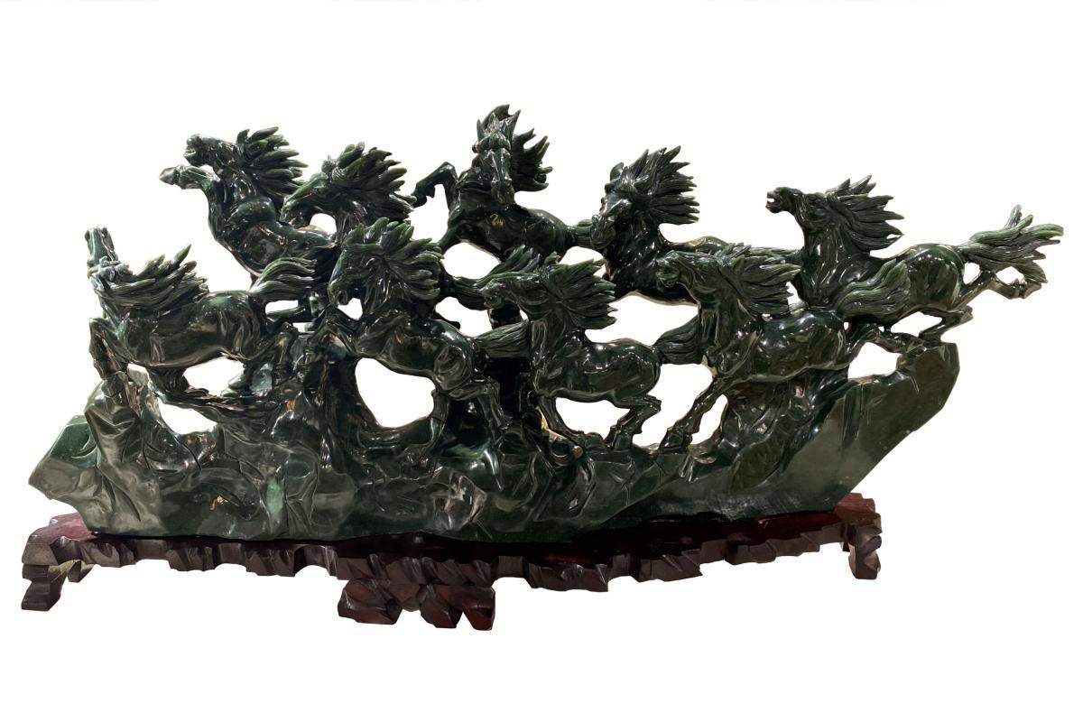 Chinese Lucky Horses Spinach Jade Feng Shui Sculpture