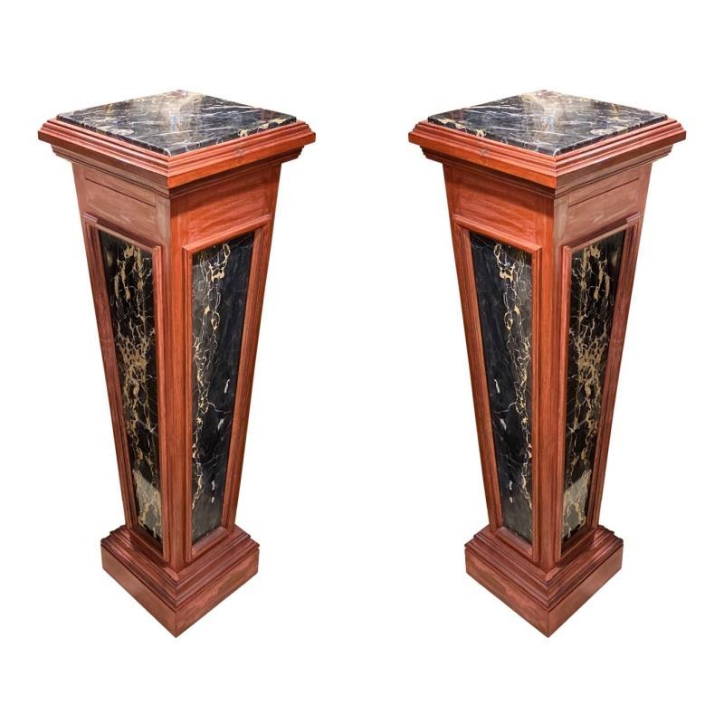 Pair Charcoal Marble and Wooden Pedestals
