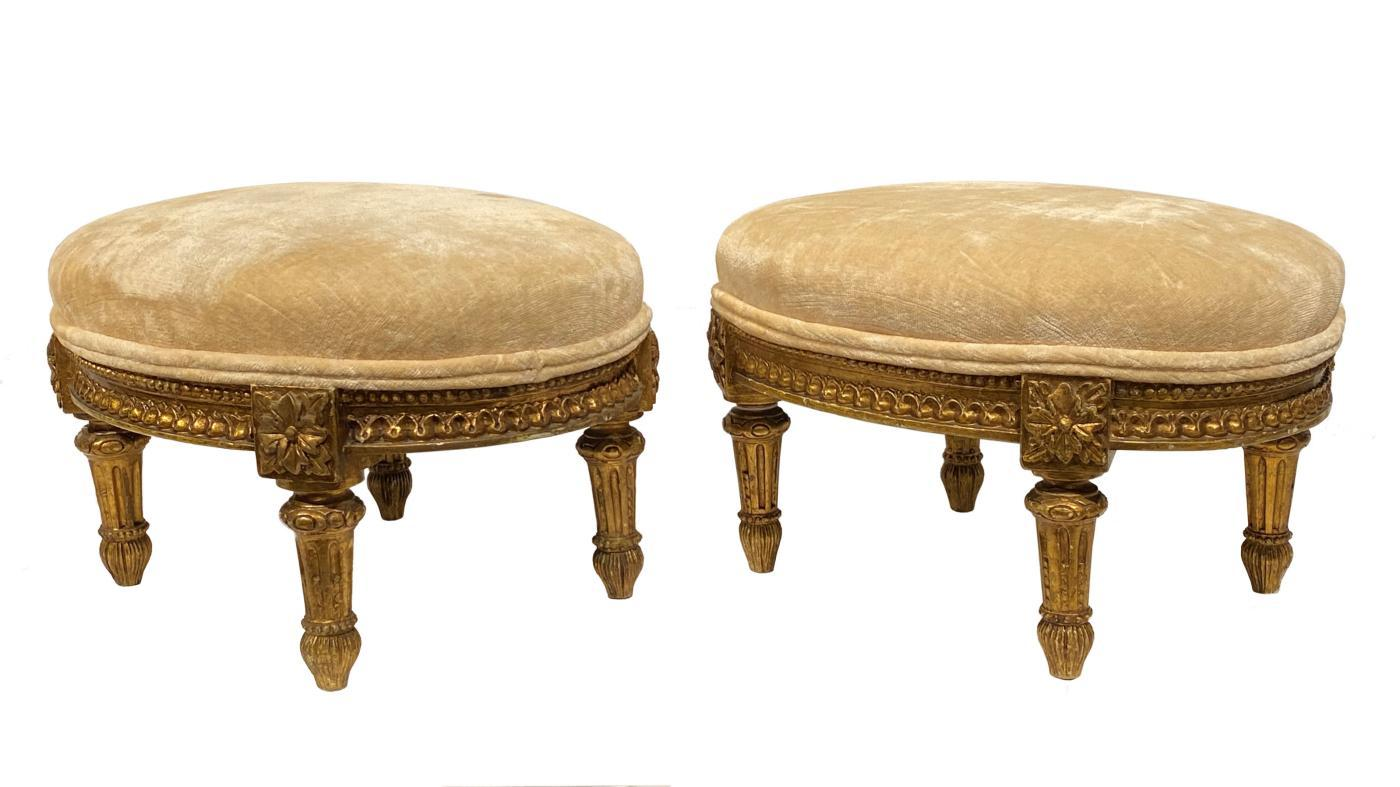 Pair Antique Louis XV Style Giltwood Upholstered Stools