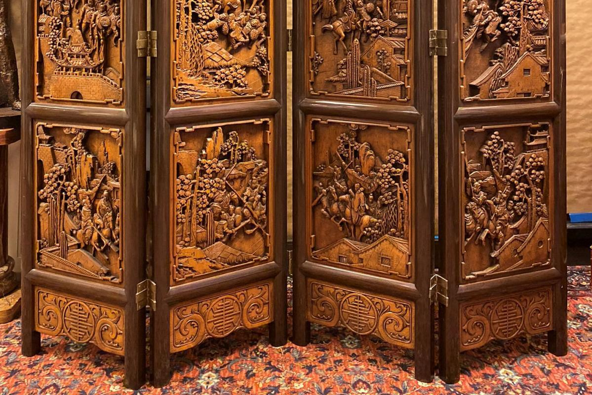 Chinese Figural Carved Hardwood Screen