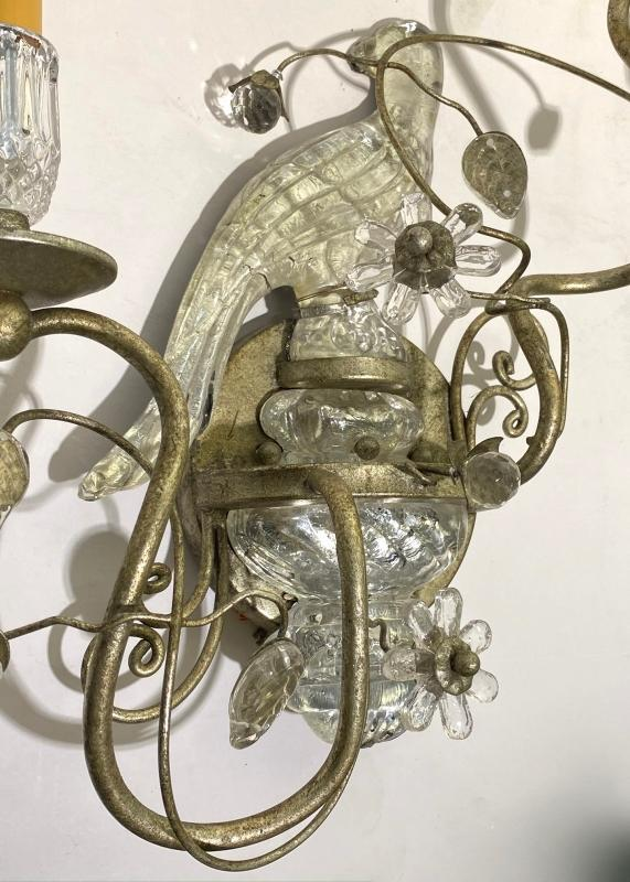 French Bagues Style Silver Gilt and Mirrored Glass Parrot Form Sconces