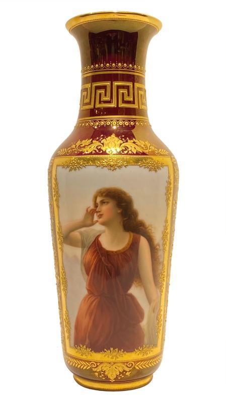 Vienna Greek Neoclassical Porcelain Portrait Vase Depicting Greek Nymph, Echo