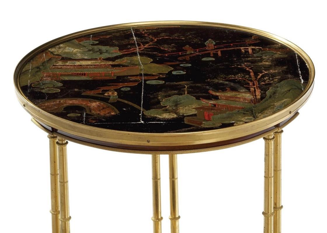Chinoiserie Japanned and Ormolu Bronze Gueridon Side Table After Adam Weisweiler