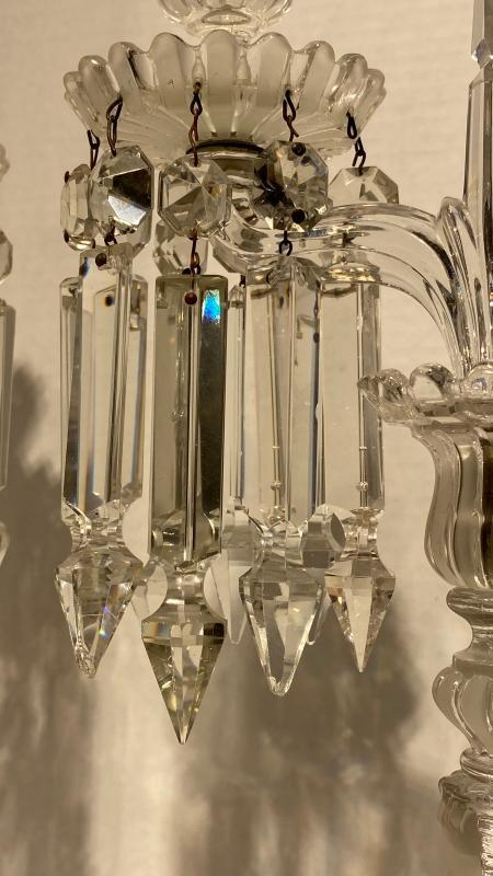 Pair Baccarat Molded and Frosted Glass Candelabra
