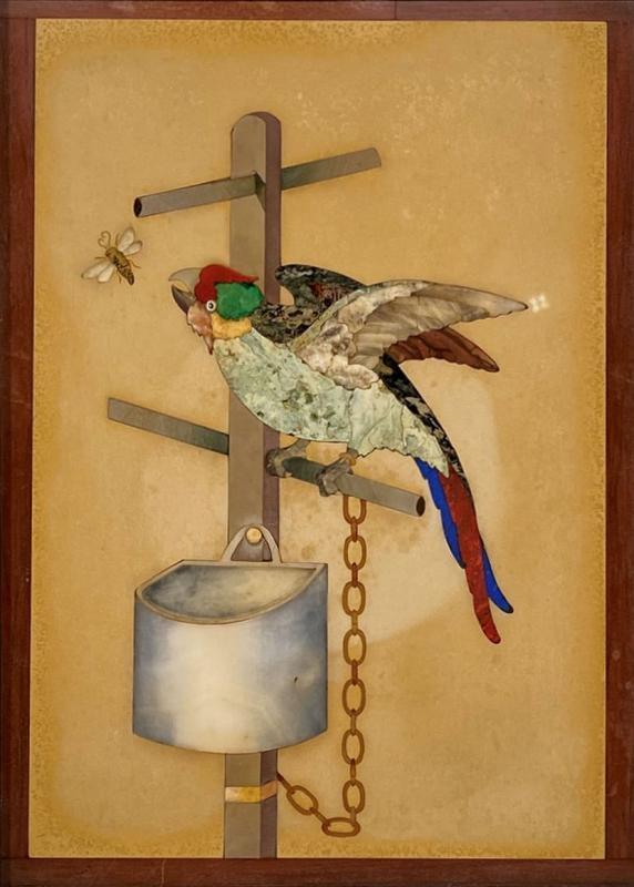 Pietra Dura Plaque Depicting Caged Parrot