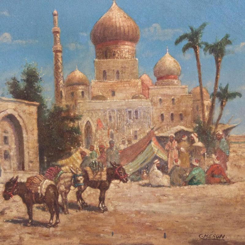 Orientalist Egyptian Caravan Genre Oil on Canvas by Meron
