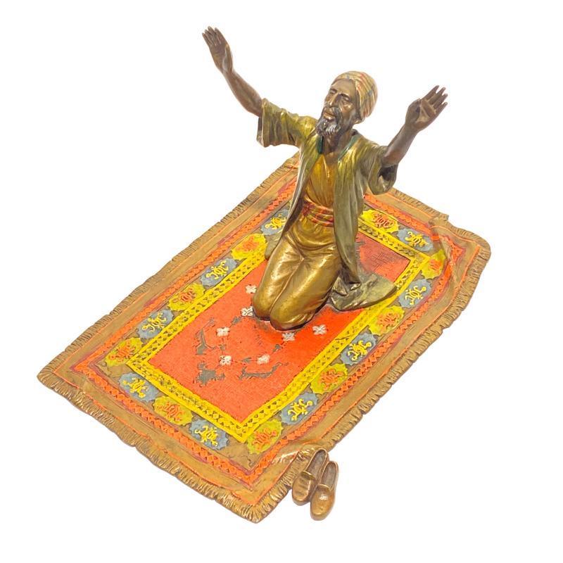Orientalist Austrian Bronze Figurine Depicting Man on Prayer Rug After Anton Chotka