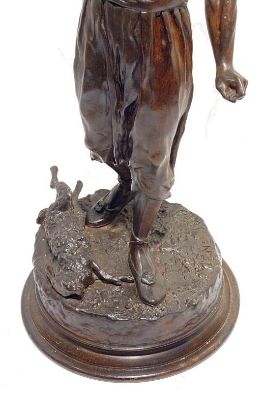 Falconer Bronze Sculpture After Pierre Jules Mene (1810-1879)