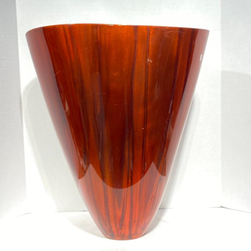 David Dirrim Bronze Vase with Red Lacquered Patina