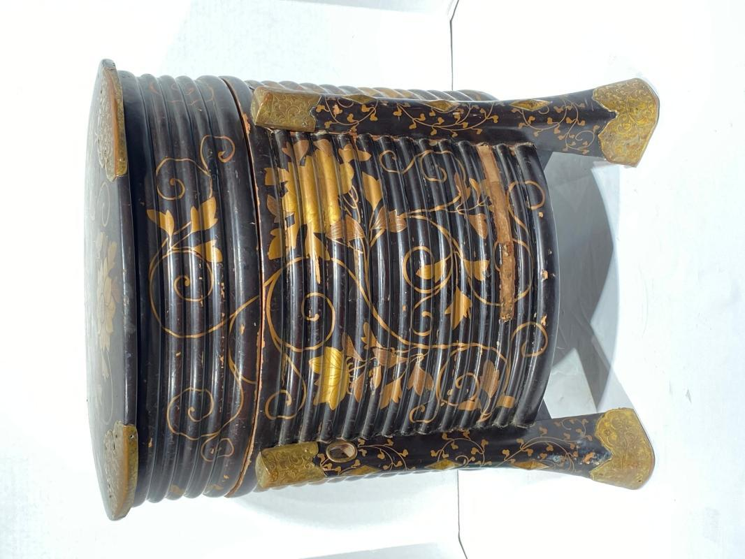 Antique Japanese Gilt Black Lacquered Kaioke Hokai