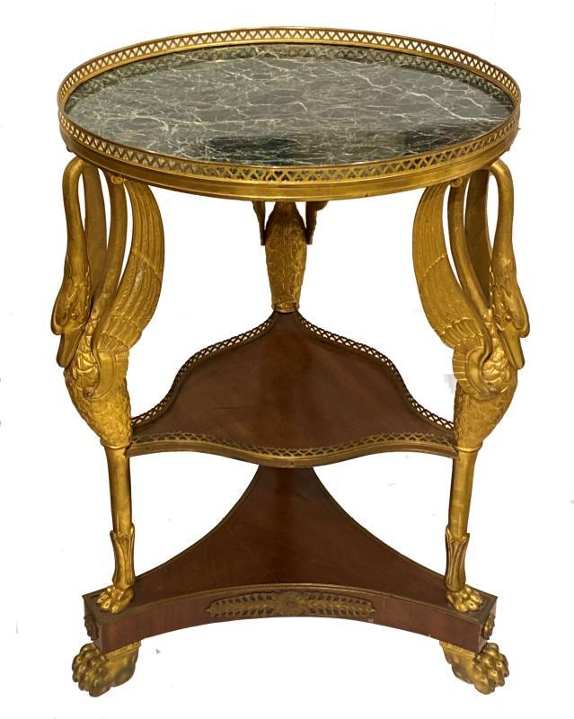 French Empire Style Ormolu Bronze Mounted Gueridon Side Table