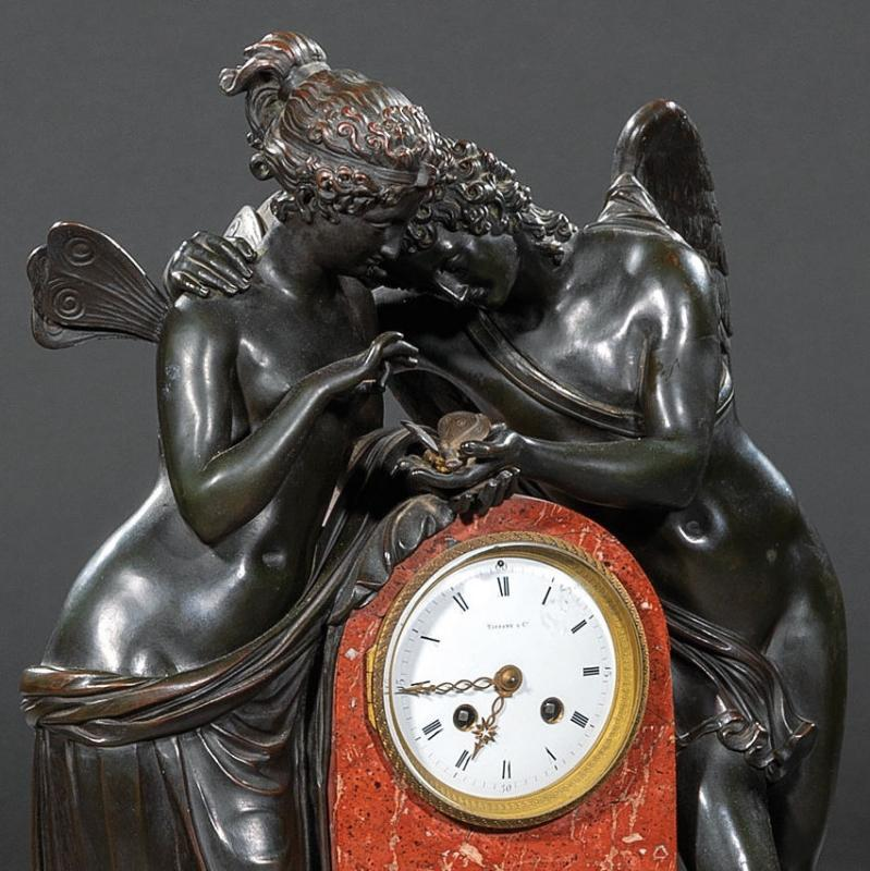 Tiffany Bronze and Marble Mantel Clock Depicting Cupid and Psyche