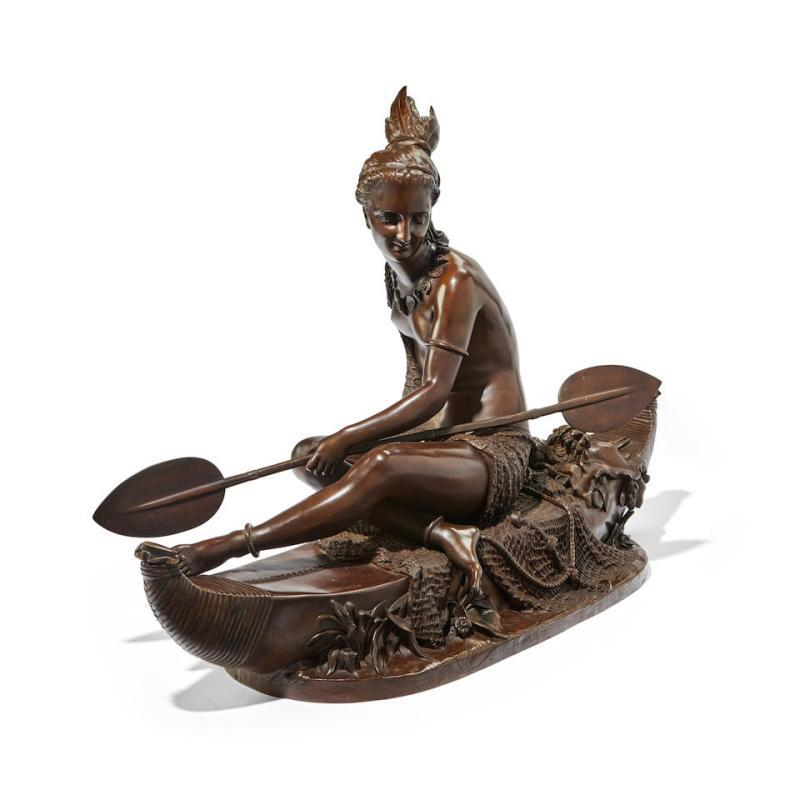 Duchoiselle Bronze Sculpture - American Indian Allegory of Fishing