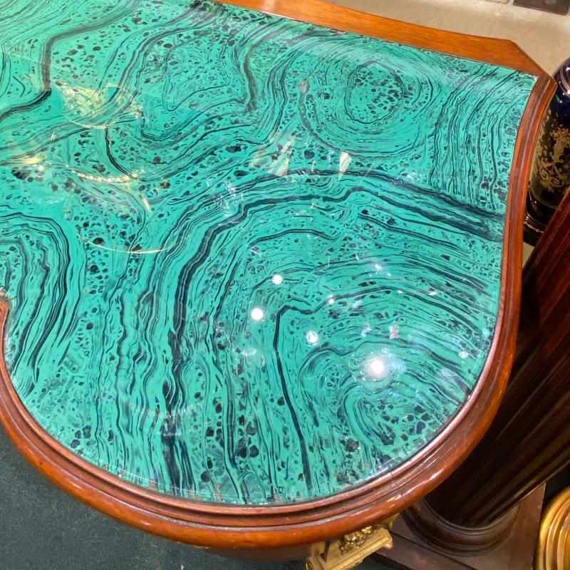 Louis XVI Style Bronze Mounted Parquetry Inlaid Kingwood Desk with Faux Malachite Top