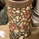 Folk Art Stoneware Pipe Porcelain and Glass Shard Umbrella Stand