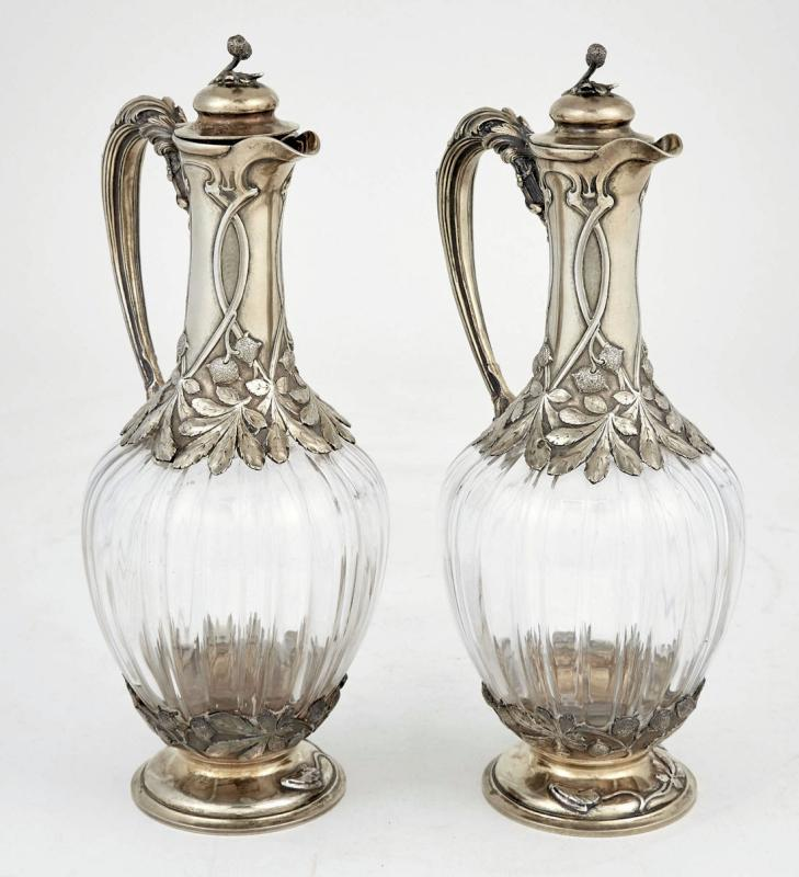 Pair French Rock Crystal Style Glass and Silver Ewers