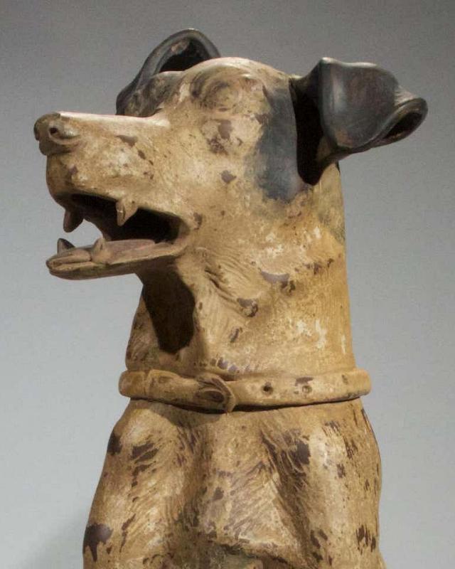 Pair Terracotta Doberman Pinscher Guard Dogs