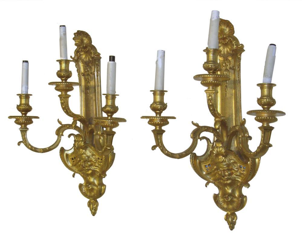 Pair Louis XIV Style Gilt Bronze Three-LIght Sconces