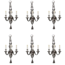 Set Six (6) Neoclassical Silvered Bronze Sconces from E.F. Caldwell
