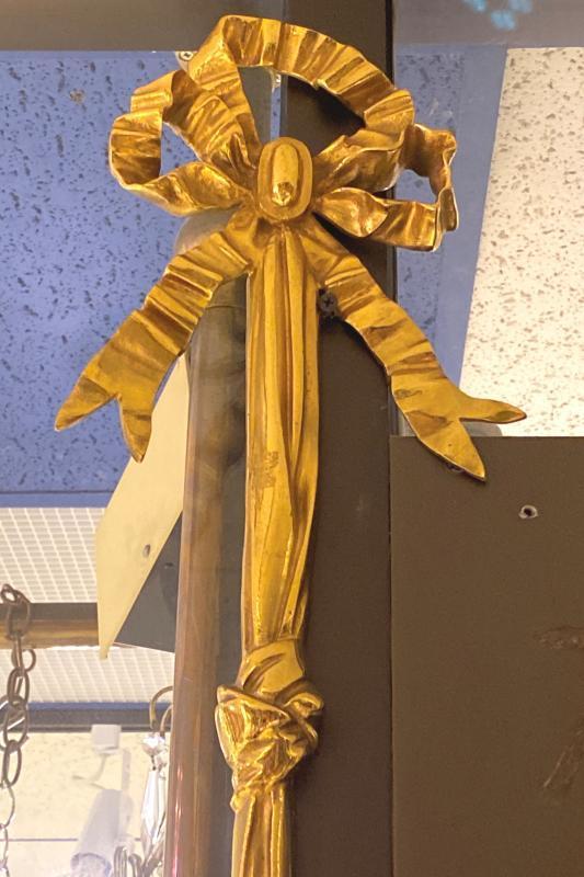 Pair Louis XVI Style 3-Light Gilt Bronze Sconces
