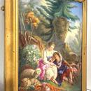 Large Porcelain Plaque of Courting Lovers in Rococo Style