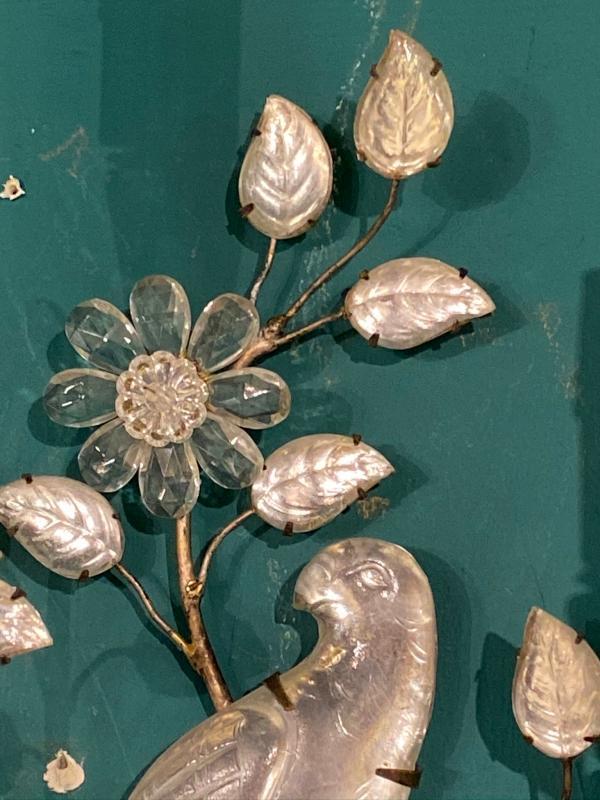 Pair Maison Bagues Style Silver Gilt Metal Sconces