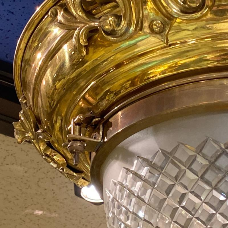 Gilt Brass and Cut Glass Plafonnier Ceiling Fixture