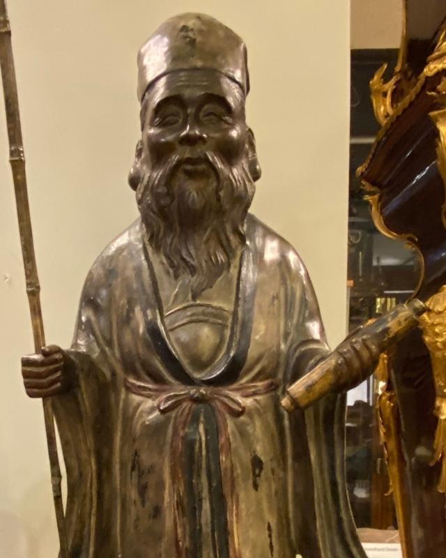 Bronze Jurojin or Fukurokuju Sculpture (35 in, 89 cm)