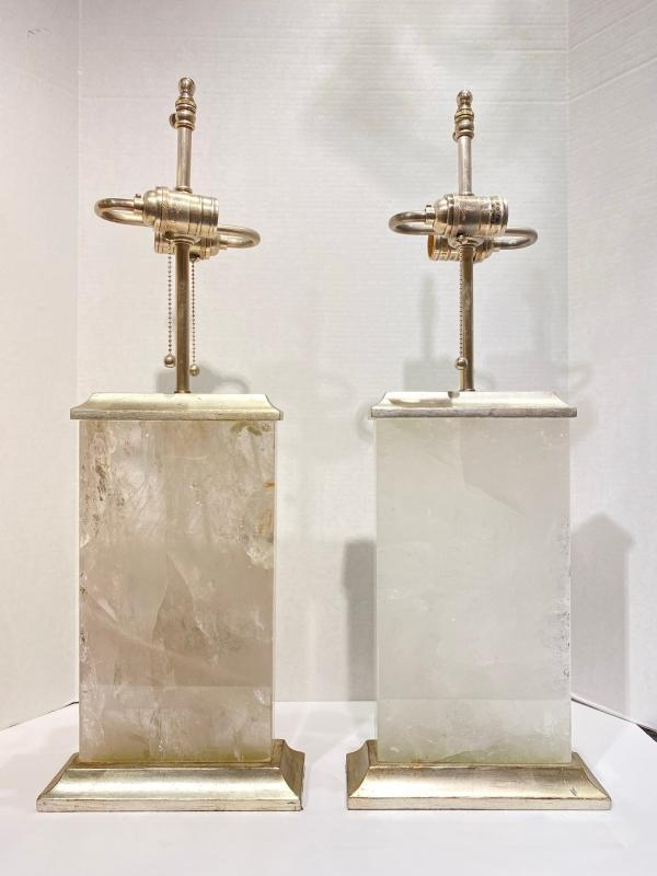 Pair Rock Crystal and Silver Gilt Table Lamps