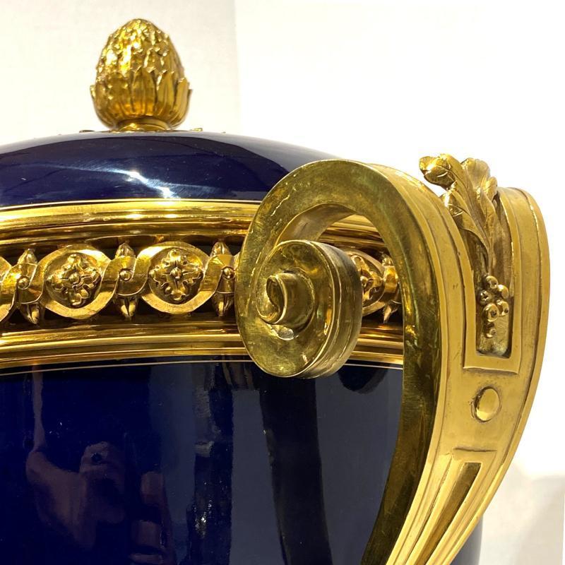 Sevres Style Cobalt Blue Porcelain and Bronze Cassolette or Potpourri