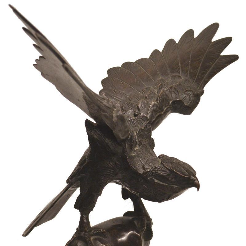 Japanese Meiji Period Hawk Bronze Sculpture