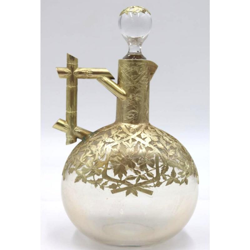 French Chinoiserie Gilt Silver Cordial Liquor Set Decanter and Glasses