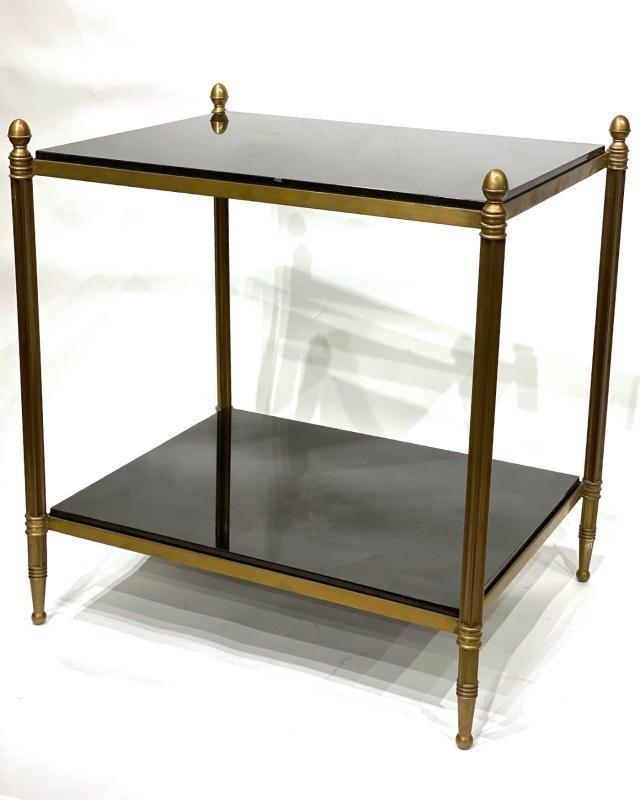 Pair Mid-Century Modern Rectangular Bronze and Granite End Tables