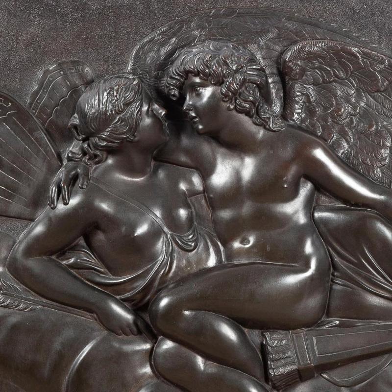 Cupid Awakening Psyche Bronze Bas Relief Plaque After John Flaxman (1755-1826)