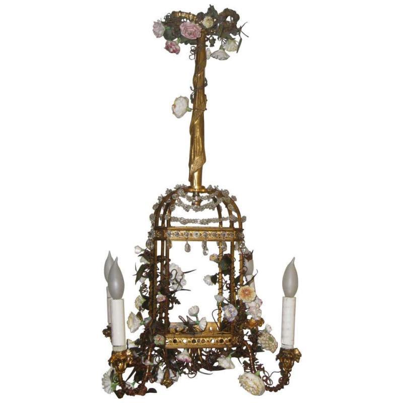 Louis XVI Style Birdcage Form Gilt Metal and Porcelain Chandelier