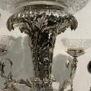 English Silverplate and Cut Glass Epergne with Lord Byron Crest