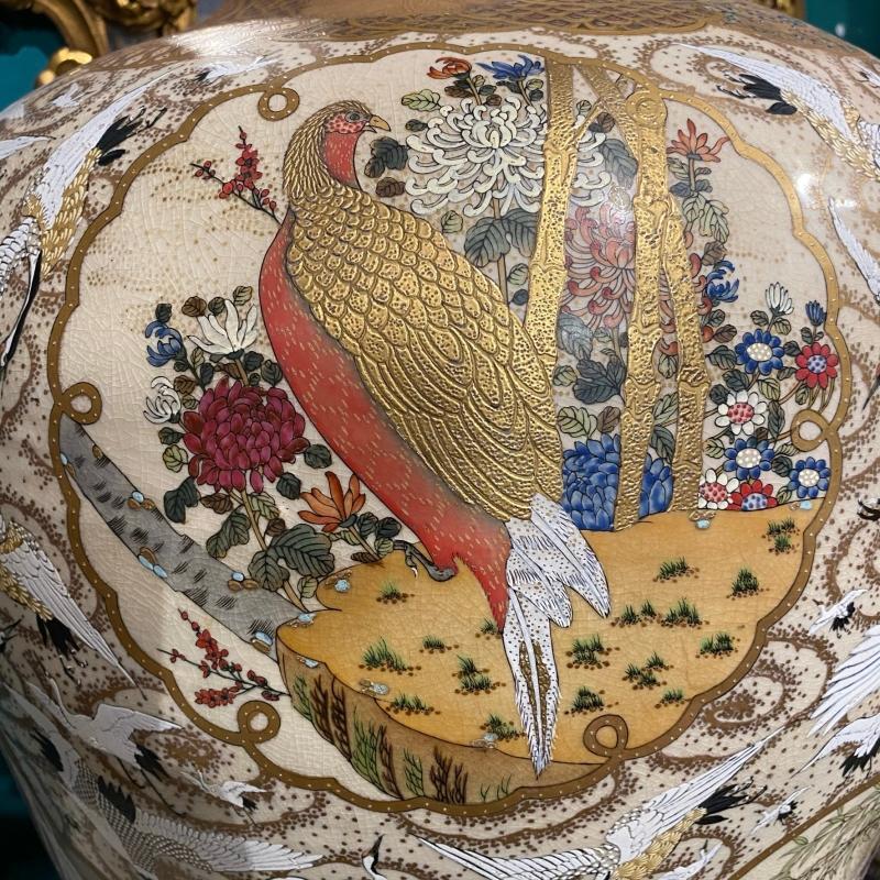 Pair Palatial Meiji Period Satsuma Vases Depicting Exotic Birds