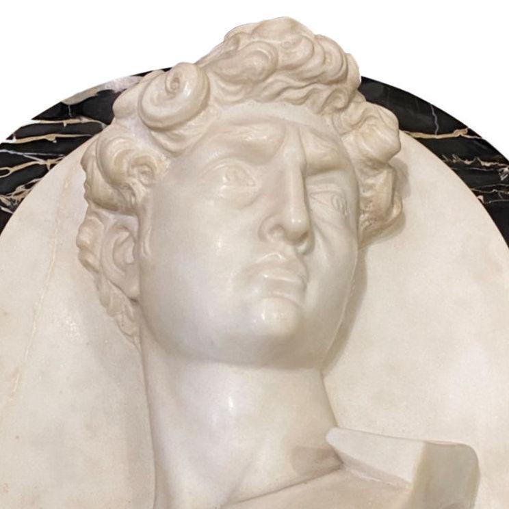 Marble Plaque Depicting David After Michelangelo