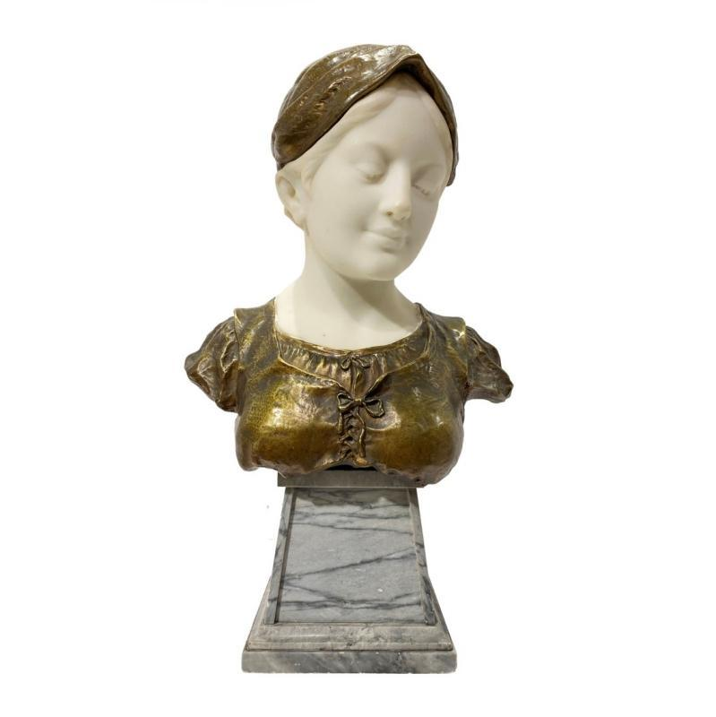 Dominique Alonzo Female Bronze and Marble Bust Sculpture