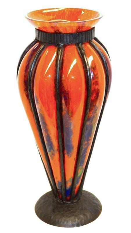 Art Deco Iron Mounted Blown-Out Glass Vase Attributed to Pierre D'Avesn for Verreries d'Art Lorrain, Daum
