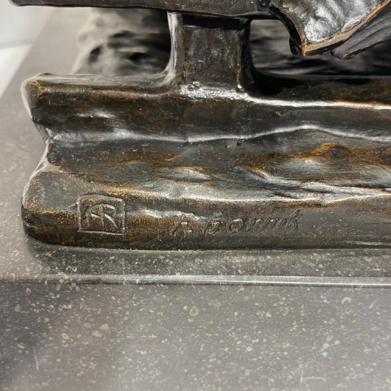 Friedrich Gornik (1877-1943) Bronze of Horse Drawn Sleigh